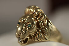 HEAVY WIDE 14K YELLOW GOLD EMERALD DIAMOND LION CAT LEOPARD PANTHER RING 14KT
