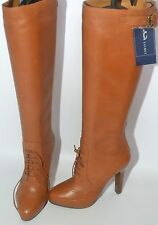 AUTHENTIC RALPH LAUREN SILLA TAN LEATHER LACE-UP BROGUE BOOTS UK 3½  EURO 37