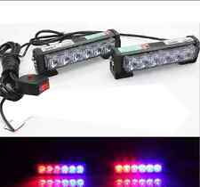 Warning Beacon 2× Car Emergency Front Grille Dash LED Strobe Light Bar Red Blue