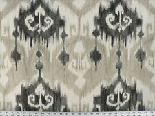 Drapery Upholstery Fabric 100% Cotton Screen-Printed Ikat - Black, Gray, Ivory
