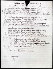 JOHN LENNON REPRO 1980 STARTING OVER HAND WRITTEN LYRICS . THE BEATLES