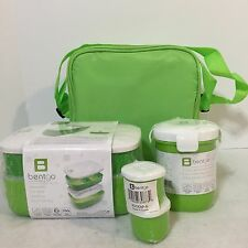 NEW Bentgo Stackable Bento Lunch Box Set with Cup Sauce Dippers Carrying Bag