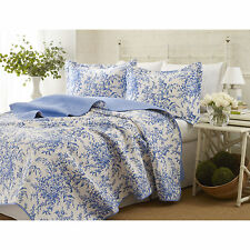 Full/Queen Laura Ashley Bedford Blue Versatile  3 Piece Floral  Cotton Quilt Set