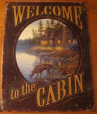 WELCOME TO THE CABIN Rustic Lodge By Lake & Deer Artwork Sign Home Decor NEW
