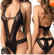 Hot Sexy Lingerie Black Patent Lace Women's underwear pajamas Size  free