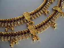 Gold plated white & maroon stone anklets payal (length 10.5 inches, 8 mm wide)