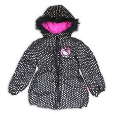 Girls Puffer Jacket - Hello Kitty W/ Foil Print Hearts & Fleece Lined Hood, Sz 4