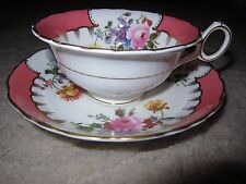 Vintage Royal Cauldon bone china pink floral design tea cup & saucer set England