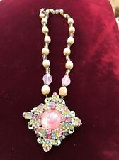 Glamorous! Signed Miriam Haskell Multi-beaded, Baroque necklace