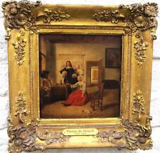 Follower of Pieter de Hooch ANTIQUE DUTCH OLD MASTER OIL PAINTING on  oak panel