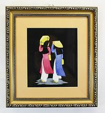 Vietnamese Silk Thread Embroidery Painting Picture In Gold Frame