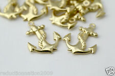 Brass Anchor Puffed Pendant Charms Nautical Drops 24mm (12)