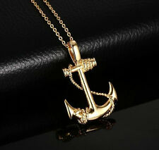 Silver/Gold Stainless steel Biker Pirate ships anchor Pendant Men's Necklace
