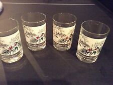 "Vintage Currier and Ives  Arby's (4) ""Christmas Snow"" Highball Glasses"