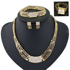 Vintage Style 18k Gold Plated Crystal Pendant Necklace Earrings Jewelry Set