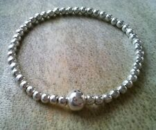 Simple Silver Ball Beaded Bracelet Stretch Stacker