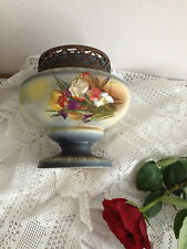 C.late 19th C  Flower Pedestal Bowl metal frog Antique Rare