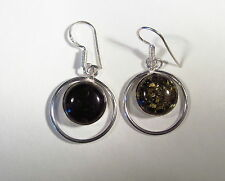 "Attractive Amber Silver Plated 1-3/4"" Dangle Earrings      AMBE42"