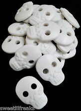 8 LARGE WHITE DAY OF THE DEAD SUGAR SKULL BUTTONS! DIA DE LOS MUERTOS GOTH PUNK
