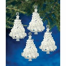 "The Beadery Holiday Beaded Ornament Kit Frosted Tree Twists 3.5"" Makes 4"