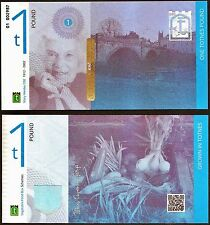 England / Totnes - £1 Banknote, 2014 series, 1st. Class Security Features. UNC.