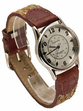 INFINITY: WOMEN GENUINE ANTIQUE LEATHER BAND SILVER DIAL ANALOG QUARTZ WATCH