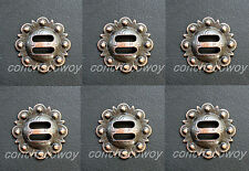 """Set of 6 WESTERN HORSE HEADSTALL SADDLE TACK COPPER SLOTTED BERRY CONCHOS 1 1/2"""""""
