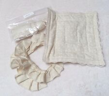 Dollhouse Miniatures Ivory Colored Lace Trimmed Bed Sheets Comforter Pillows
