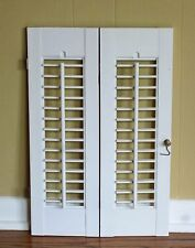"2 Panels Old Shabby Window Wood Louver Shutters 20"" x 13.25"" Off White Color"