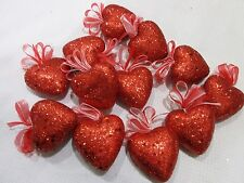 """Valentines Day Red Glitter Hearts 2"""" Ornaments Decorations Decor Set of 12"""