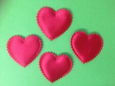 BULK WHOLESALE 100 RED SATIN HEART VALENTINES CARD MAKING CRAFT EMBELLISHMENTS