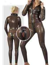 Latex Rubber Full-body Coffee Catsuit Sexy Tights Suit Bodysuit Size XS-XXL