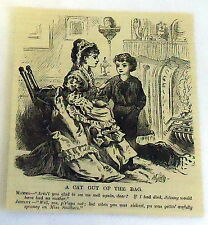 1882 small magazine engraving ~ A CAT OUT OF THE BAG, son tattles on father