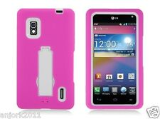 LG Optimus G E970 AT&T Hybrid S Armor Case Skin Cover w/ Stand Pink White