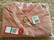 NWT new IZOD Brick Red BAKED CLAY Striped OXFORD DRESS SHIRT Large Tall L T $60