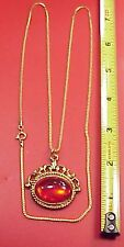"Vintage Chain Ruby Red Roman Soldier Pocket Watch Fob 26"" Chain Charm Pendant"