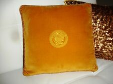 Vintage GIANNI VERSACE Medusa Pillow Cover Golden Yellow Velvet 42 cm 16.5''