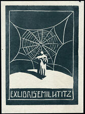 Woodcut Exlibris by German artist MAX UNOLD 1910   Bookplate
