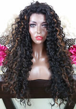 Soft Curly Black w/Auburn Highlights Lace Front Wig Long Layers Heat Safe