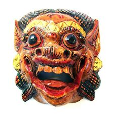 Wooden monkey mask of Barong, natural color,hand-carved in Bali, wall mask, new