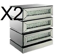 Two X Floating Crystal 3 Drawer Mirrored Bedside Table 3 Drawers chest Bedroom