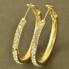 Stunning 9K Yellow Gold Filled crystal Crystal Womens Hoop Earrings,Z5399