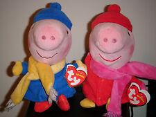 Ty Beanie Babies Set ~ WINTER PEPPA & GEORGE (Peppa Pig)(UK Exclusives) ~ MWMT'S
