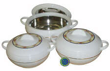 White Ambient Hot Food Serving Storage Round Insulated Casserole Pot Set Of 3