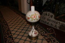 Vintage Gone With The Wind Hurricane Table Lamp-White Satin Globe Painted Flower