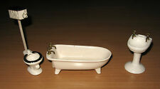 Vintage Dollhouse Miniature Bathroom High Tank Toilet Pedestal Sink footed Tub
