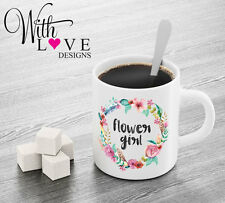 FLOWER GIRL FLORAL COFFEE MUG TEA CUP PERSONALISED WEDDING HEN PARTY GIFT