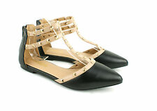 LADIES WOMENS FLAT ANKLE STRAPPY STUD DETAIL SLIP ON PUMPS LOAFERS SHOES SIZE