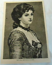 1883 magazine engraving ~ TEA ROSE from painting by G Leslie, PORTRAIT of WOMAN