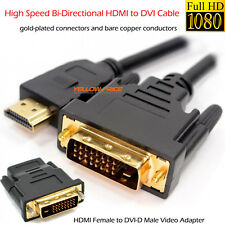 DVI to HDMI Digital Cable/Lead PC LCD HD TV 6ft GOLD+HDMI to DVI-D Video Adapter